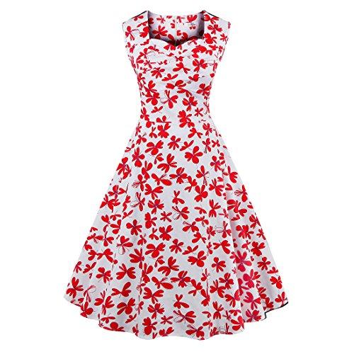Pinkyee Damen A-Linie Kleid Rot/Blumenmuster