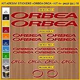 Adesivi Bici ORBEA ORCA- KIT 4 - Kit adesivi stickers 18 Pezzi -SCEGLI SUBITO COLORE- bike cycle pegatina Cod.0933 (031 ROSSO)
