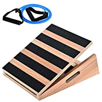 """HAWEE Wooden Slant Board Adjustable Incline Calf Stretching Ladder Hamstring Exercise 16"""" x 18"""", 5 Positions (400 lb Capacity)"""