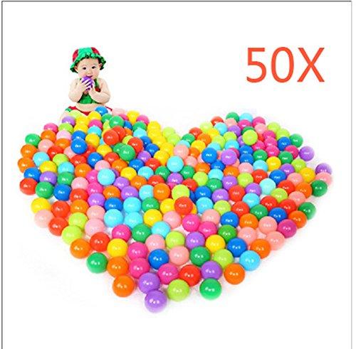Hrph Multilocolre Boules Océan Plastique Boules Colorées de Piscine pour Bébés Enfants Animaux Diamètre 55mm Jouets Boule (Multicolore-50pcs)