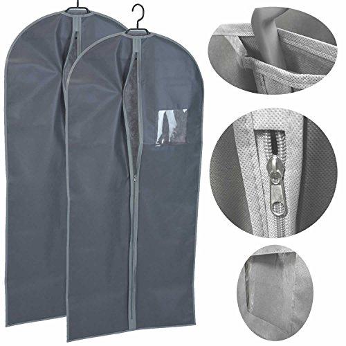 LS Design 2x Reise Kleidersack Kleiderschutzhülle Kleiderhülle 60x135 cm Vlies Grau Anthrazit
