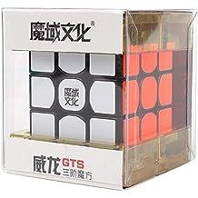 HJXDtech-Moyu Nueva Weilong GTS profesional 3x3x3 Cubo velocidad cubo mágico con dispositivo de reproducción Cubo (negro)