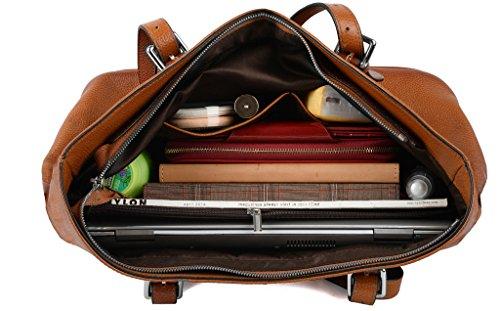 YALUXE Borsa Donna Pelle Morbida Stile Vintage Borsa a Spalla TOTE per Lavoro Adatto 13 Laptop Marrone