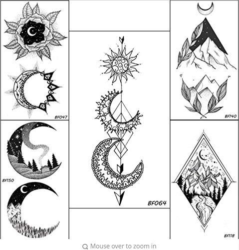 e Temporäre Sonne Halbmond Pfeil Tattoo Cool Black wasserdichte Gefälschte Tätowierung DIY Arm Set Körperkunst Henna Tattoo Aufkleber ()