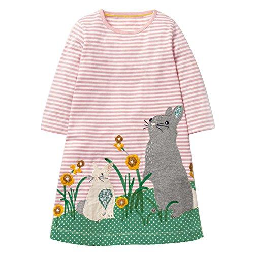 Mädchen Langarm Herbst kleider Tiere Cartoon Mustern Kleid ()