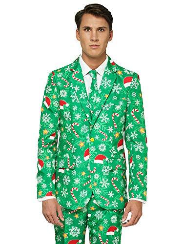 Erwachsene Lustige Günstige Kostüm Für - OFFSTREAM Weihnachtsanzüge für Herren in Verschiedenen Drucken - besteht aus Sakko, Hose und Krawatte, XL, Green Snow