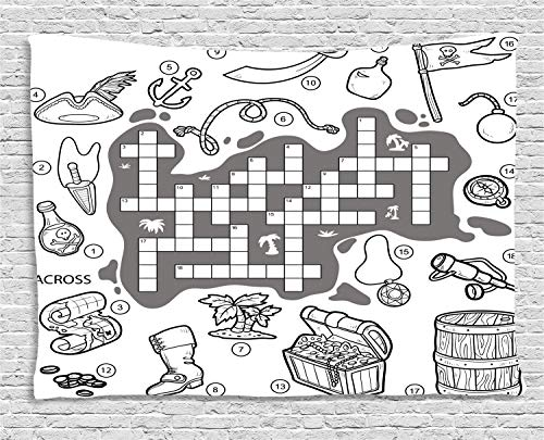(ABAKUHAUS Word Search Puzzle Wandteppich, Piraten-Thema, Wohnzimmer Schlafzimmer Heim Seidiges Satin Wandteppich, 200 x 150 cm, Weiß Schwarz Grau)
