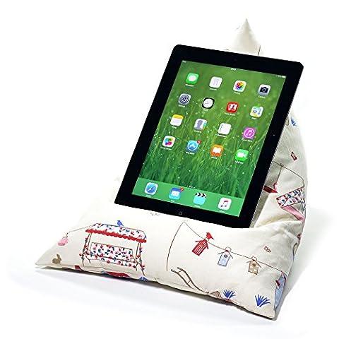 eBean tablette–Coussin Pouf support porte Lap adapté pour tous les iPad tablettes et lecteurs de eBook Summer Garden
