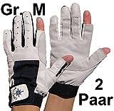 2 Paar BluePort Damen Herren Segelhandschuhe Gr. M / 8 aus Leder - 2 Finger frei