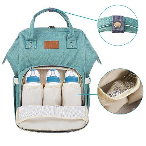 Mochila de Pañales y biberones para mamá, Impermeable Bolsos Cambiadores Cambio de Pañales para Cuidado de Bebé,Verde Claro