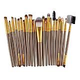 Wawer 22 stück Kosmetik Pinselset,Holz Foundation Kosmetische Augenbrauen Lidschatten Pinsel Make-up Pinsel Sets Werkzeuge (Gold)