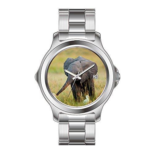 FDC-Navidad regalo relojes Fashion FECHA acero inoxidable reloj de pulsera de cuarzo japonés de la mujer bebé elefante y pájaros muñeca relojes