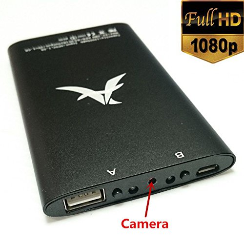 Spy-Cam 1080p FULL HD Kamera getarnt in einer Powerbank | mit Bewegungsmelder und Nachtsichtfunktion | edles Alugehäuse | Überwachungskamera | verschiedene Farben wählbar EC1142 (Schwarz)