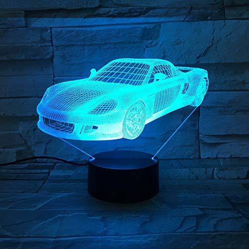 7 Farben Visuelle Racing Sportwagen Modellierung Lampe / 3D Led Nachtlicht/Kinder Geschenk/Touch Switch Usb Tisch/Schlaf Beleuchtung3D A/v Switch Box