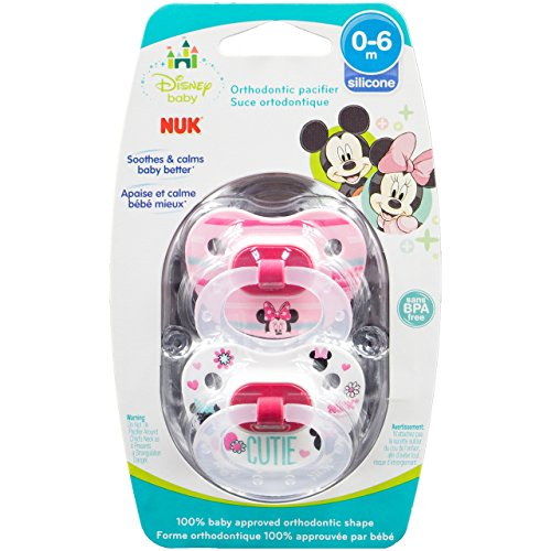 NUK Disney Baby Minnie Mouse Puller Pacifier in Assorted Colors and Styles, 0-6 Months by NUK (2 3 Jaw Puller)