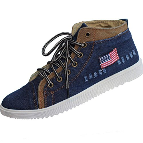 Men's Cowboy Non Slip Breathable Canvas Shoes Navy Blue For High