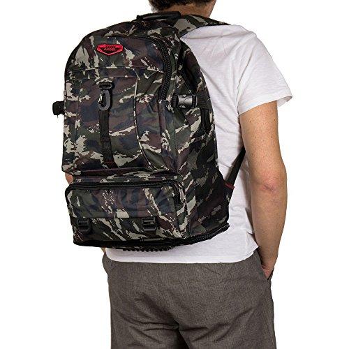Zaino escursionismo grande da viaggio uomo trekking capiente leggero campeggio outdoor militare mimetico allungabile 40 litri con zip tasche in similtessuto mimetico h50(+12allungabile) xl34xp14