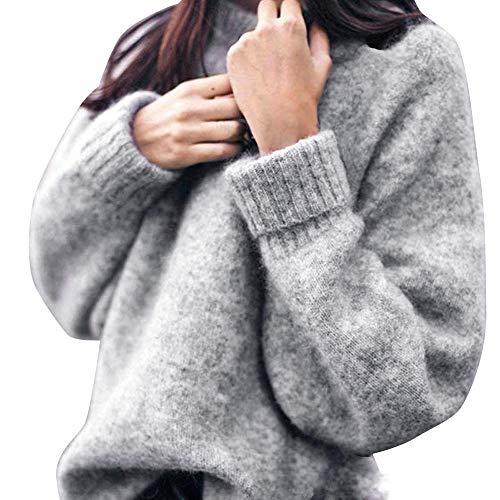 WHSHINE Damen Stricken Elegant Pullover Rundhals Einfarbig Herbst Winter Sweater Casual loose Strickpulli Winterpullover
