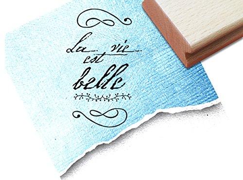 Preisvergleich Produktbild Stempel - BM 9 16 - Hübscher Schriftstempel im Vintage - Landhausstil - La vie est belle - Das Leben ist schön für Scrapbook, Einladungen und mehr