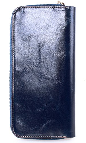 Greeniris donne di alta qualità titolare portafogli in pelle lungo del raccoglitore della carta della borsa della signora moderni profondo blu