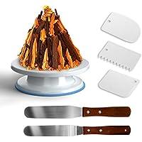 GiBot plateau tournant présentoir gâteau avec 2 pièce spatule pâtisserie et 3 pièce grattoir à gâteau pour ganache et décorer gâteaux pâtisseries Diamètre de 28CM, blanc