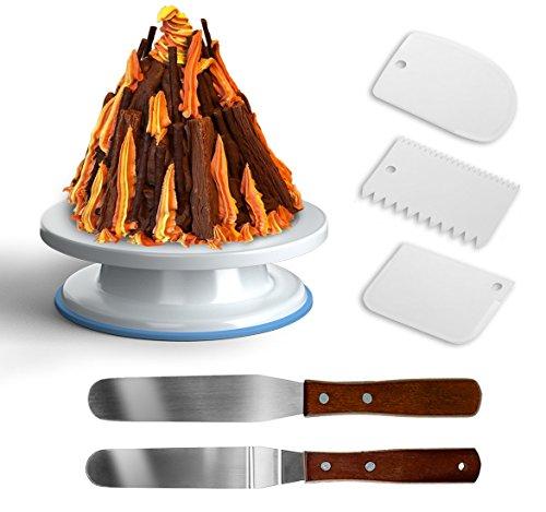 GiBot Plato Giratorio de la Torta Soporte de Decoración de Pasteles con 2 pieza acero inoxidable espátulas y 3 paletas de plástico para repostería, 28cm, Blanco