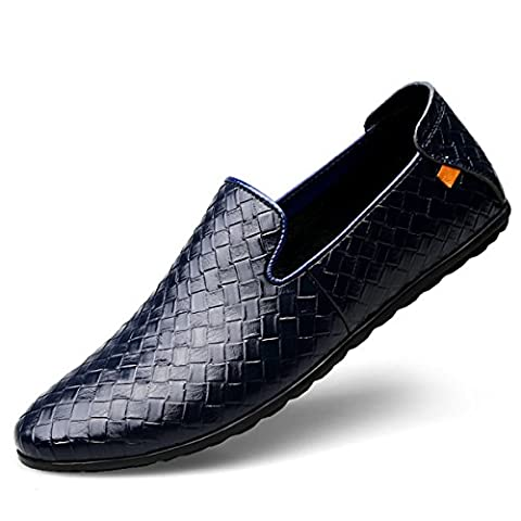 Ddstar Men's Business Loafers Shoes Leather Breathable Woven Leather Shoes All-Match Doug Pedal Shoes Slip-On Boat & Driving Slip-on Flat Shoes blue 6