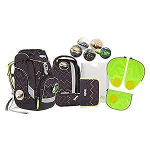Ergobag pack - Schulrucksack Set 6 tlg. Drunter und DrüBär inkl. Sicherheitssets in GRÜN