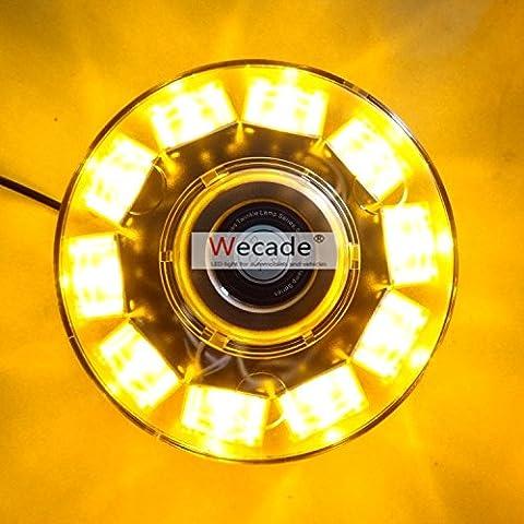 WASTUO High Intensity 10 LED 30W Volunteer Firefighter Emergency Vehicle Magnetic Mount Strobe/Flash Beacon Warning Light (Amber)