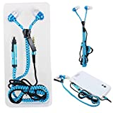 Asnlove In-Ear Kopfhörer mit Reißverschluss Kabel Zipper Design Mikro und ON/OFF Funktionen 3.5mm Stereo Stecker für Smart Phones,Tablet PC wie Apple iPhone,Samsung Galaxy,Sony Xperia,Huawei,Ipad(Blau)