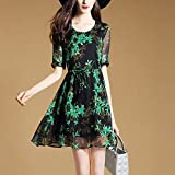 Women S Dress Summer Printing Chiffon European And American Women Short - Sleeved Imitation Silk Chiffon,M