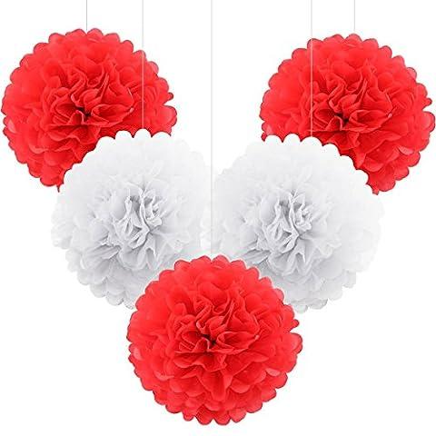 ULTNICE 5pcs papier Craft fleurs balles pompons de papier de soie pour mariage Bayby douche Party Decor