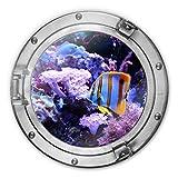 Glasbild rund 3D-Optik Bullauge - Bunte Unterwasserwelt Lila Korallen Korallenriff Fische Ozean Meer Wall-Art Ø 70cm