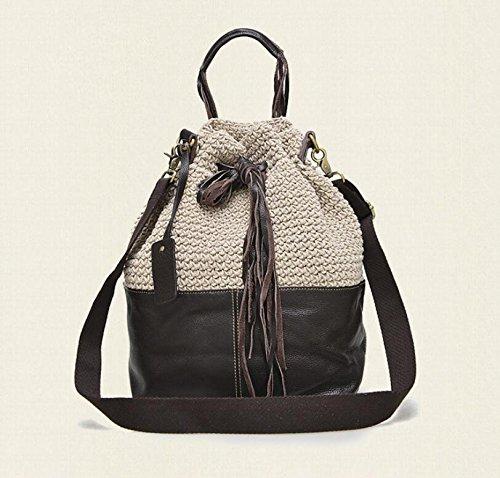 DJB/ Fashion Schultertasche Retro-zweifarbige Leder Damentaschen Handtasche meters white