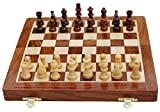 Best Chess Wooden Handcrafted Folding Chess Set with Magnetic Pieces,Brown (12 Inches)