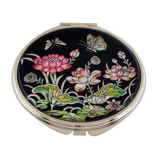 Rose Nacre Fleur Lotus Compact Double loupe maquillage/portemonnaie Beauty Miroir de poche