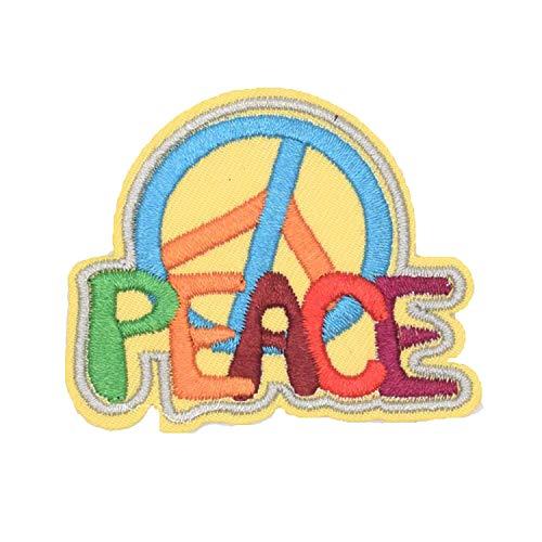 Parche bordado negro con diseño de símbolo de la paz anti guerra, es