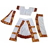 Fancyflight Bharatnatyam Classical Dance Costume For Girls Fancy Dress Competitions /Annual Functions/ School Events (6-8 Years)