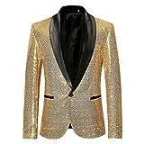 LuckyGirls Hommes élégant Costume Solide de soirée de Mariage Blazer Affaires Outwear Veste Tops Chemisier(Or,Large)