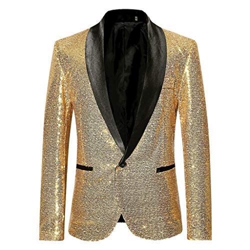 Tefamore Trajes Hombre Chaquetas Americanas Charm Casual Un Botón Fit Suit Traje Blazer Abrigo Abrigo de Fiesta de Lentejuelas Chaqueta (Dorado, XL)