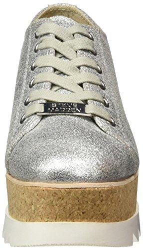 Steve Madden Korrie, Sneakers Basses Femme Argent (Silver Metallic)