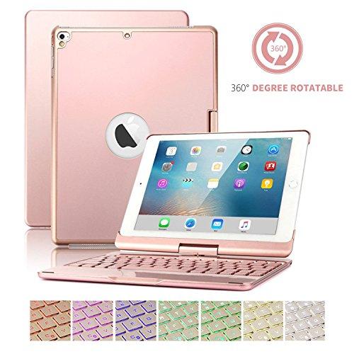 iPad 9.7 Tastatur mit Fall,SUAVER 360° Rotierende Wireless Bluetooth Tastatur Fall Abdeckung 7Farben Hintergrundbeleuchtung und Atmung Licht,Wiederaufladbare(Rose)