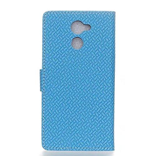 YHUISEN Vodafone Smart V8 Case, Weave Pattern Magnetische Verschluss PU Leder Brieftasche Flip Folio Case mit Card Slot Stand Schutzhülle für Vodafone Smart V8 ( Color : Purple ) Blue