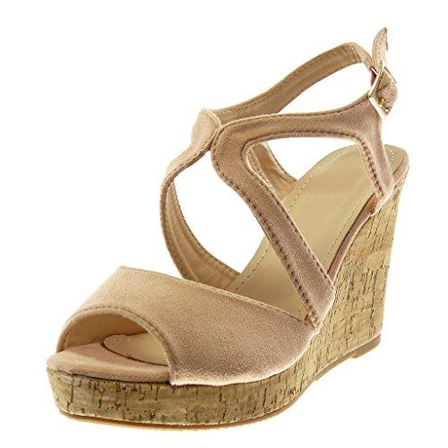 Angkorly - Damen Schuhe Mule Sandalen - Peep-Toe - knöchelriemen - Plateauschuhe - Kork - String Tanga Keilabsatz high Heel 10 cm - Hellrosa 333-1 T 41 Kork-peep-toe-heels