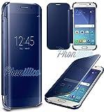 Phonillico Coque Flip Clear View Bleu Samsung Galaxy S7 EDGE - Coque Housse Etui Case Protection Rabat Fenetre Window Cover View Miroir Ultra Slim
