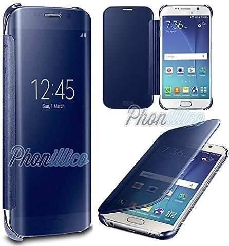 Phonillico® Coque Flip Clear View Bleu Samsung Galaxy S7 EDGE