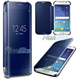 Phonillico® Coque Flip Clear View Bleu Samsung Galaxy A3 2016 - Coque Housse Etui Case Protection Rabat Fenetre Window Cover View Miroir Ultra Slim