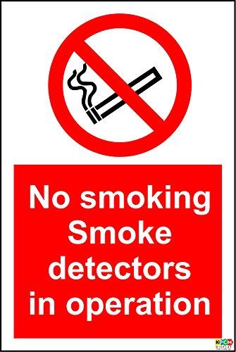 No Smoking Rauchmelder in Betrieb Schild–1,2mm starrer Kunststoff 200mm x 150mm