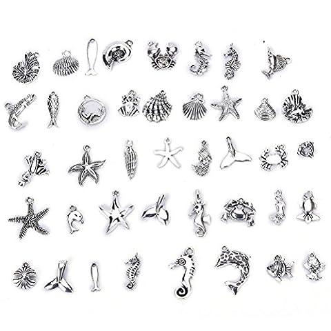 sevenmye 40 Mix Bulk viele Antik Silber Charm Anhänger Kollektion, Armband Halskette Vintage Schmuck Erkenntnisse für DIY Schmuckherstellung und,, style 2 …