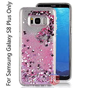 KC Liquid Unique Floating Hearts and Glitter Sparkle Transparent Soft Side Back Cover for Samsung Galaxy S8 Plus (Pink)
